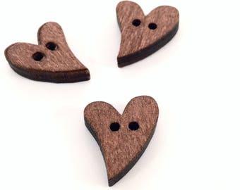 X 1 button heart wood 20x17mm♥ ♥