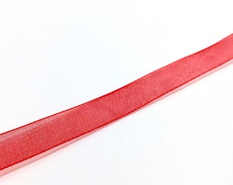 1 meter Ribbon 10 mm red organza ❤ ❤