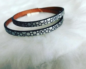 Leather Bracelet double turn - silver clasp