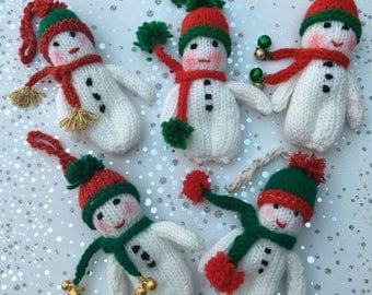 Snowman Hand-knitted Tree Decoration