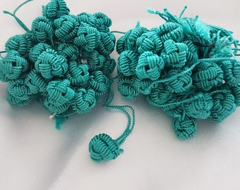 Turquoise Moroccan Aakads vegetable silk braided buttons