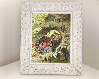 Woodland Nursery picture. Vintage children's book illustration for framing. Image showing gnomes, hedgehogs, blue tits, robin, riding cart