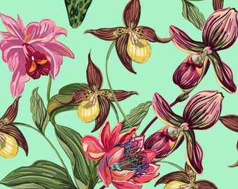 SET of TABLE semi-rigid ORIGINAL AESTHETIC WASHABLE and durable - Illustration - orchids...