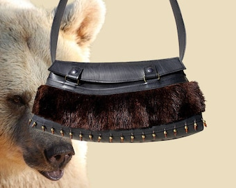 Bag inner tube recycled and Brown fur