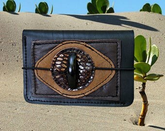 Ethnic women's wallet in inner tube recycled and brown leather