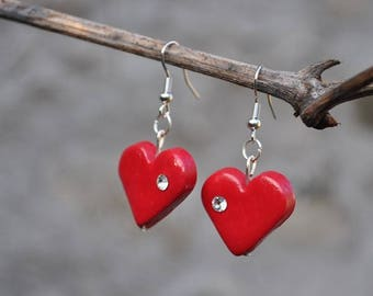 """Earrings """"precious heart"""" Fimo - polymer clay red heart"""