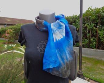 Blue/gray hand-painted silk shawl