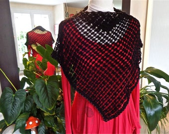 SHORT PONCHO in black cotton for summer