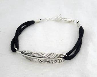 Handmade bracelet silver feather suede black unique ❤