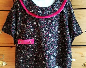 Girl floral velvet tunic.