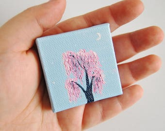 Pink Weeping Willow and Moon Acrylic Painting 5x5cm Stretched Canvas Home or Office Decor