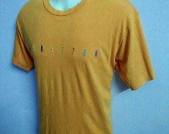 Benetton T Shirt United Colours of Benetton Embroidered Multicolour Logo Vintage Orange Tee