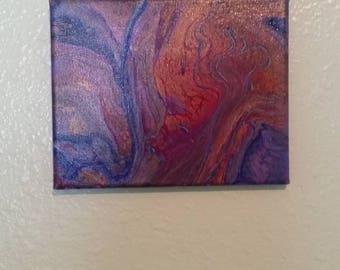 A River Runs Through It (32) -  Original 8x10 gallery wrapped canvas, fluid art painting