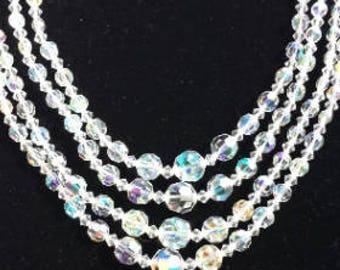 Aurora Borealis Glass Crystal Vintagel Necklace Four Strand 1950s D082