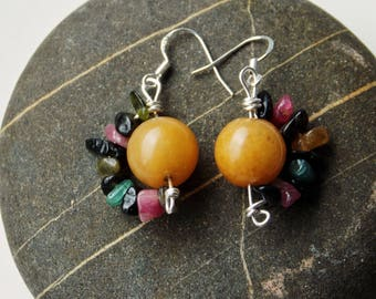 FREE UK shipping! Yellow Agate, Tourmaline Earrings with 925 Sterling Silver Wire and Hooks * Natural Stones * Handmade* Gift *
