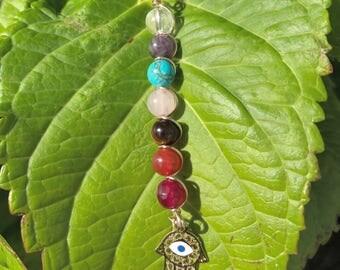 Chakra pendan • rainbow colors•hamsa hand•enery pendant•healing stones