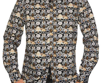Every Rose has a Thorn L/S Fashion Floral print mens button up shirt