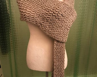 Handmade Knitted Shawl or Large Scarf - Item #5002