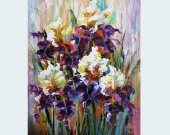 Blue iris flower oil knife painting Iris flower painting Floral landscape art Oil knife flower painting Blue lilac flower painting Iris art