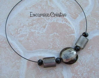 Grey glass style faux Pearl Necklace beads Murano mounted by me