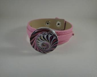 Pink adjustable leather strap with snap maxi interchangeable chunk of 30mm