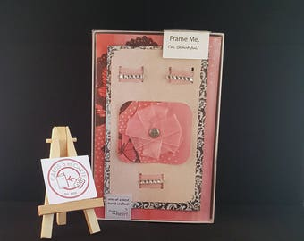 Handmade 3-Dimensional Greeting Card- Gift for Her- One of a Kind- GiftBox Series - Pastel- Pink