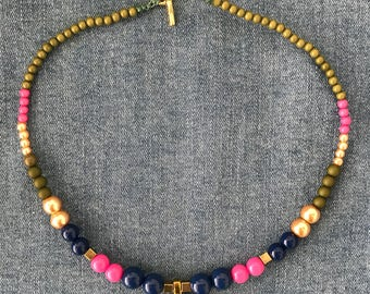 Buddha necklace with cool colors combination