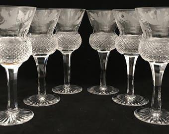 Set of Six Edinburgh Thistle White Wine Glasses