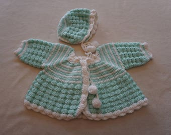Crocheted Mint Green Baby Girl Sweater and Hat Set