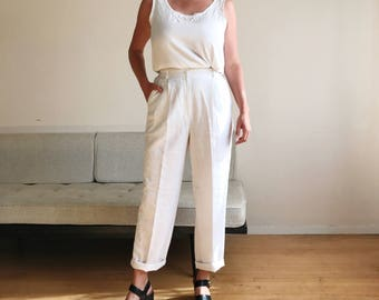 90s White Trousers | 90s Minimal Trousers | Vintage White Pants | High Waist Pants