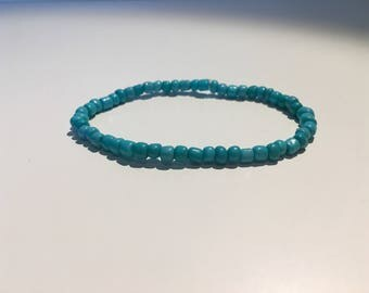 Natural Bohemian Turquoise Stone Stretchable Handmade Bead Bracelet