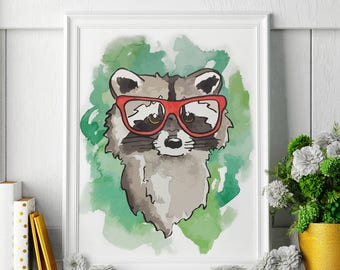 Raccoon - Watercolor Painting - Raccoon Art - Raccoon Painting - Raccoon Print - Animal Watercolor Print