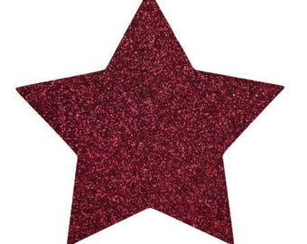 10 X 9.5 cm Burgundy glittery star fusible pattern