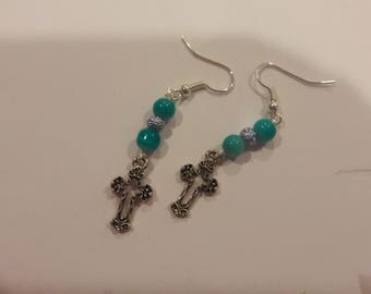 Cross charms with blue and purple beaded earrings