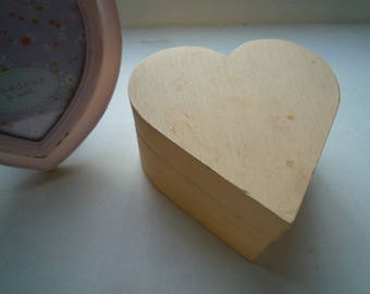 Box wood natural heart to paint or customize