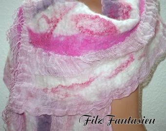 Nuno felted scarf, Leinenschal, scarf, shawl, scarf, befilzter shawl, hand-dyed scarf