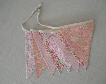 Garland flags (x 8) fabric pink and stars