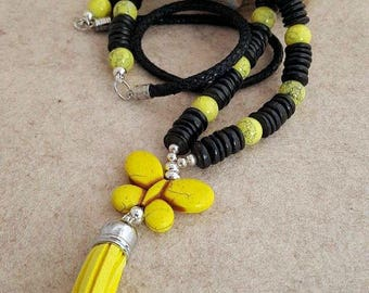 XL necklace made of coconut beads, marbled glass beads, turquoise butterfly, tassel, leather strap, silver parts