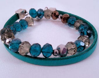 Beaded leather wrap bracelet with faceted beads in turquoise/brown