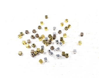 20 in silver color cube beads, gold and bronze +/-4mm