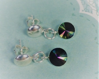 Stirling silver stud earrings with attached Swarovski rainbow dark crystal