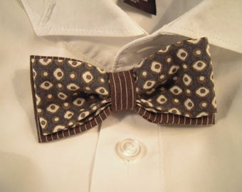 Bow tie chocolate striped fabric and coordinate print