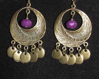 Bohemian earrings purple antigorite and bronze sequins