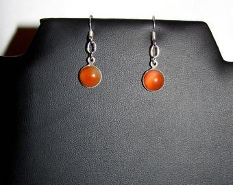 Small pendant on silver plated genuine carnelian earrings