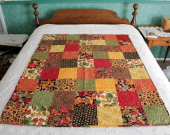 Fall Patchwork Quilt- Leaf Print Backing