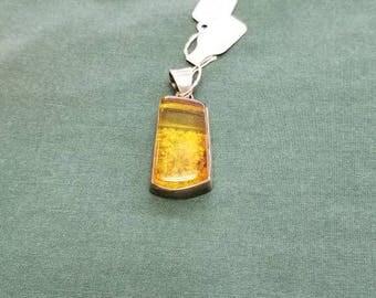 Vintage Amber pendant Sterling silver