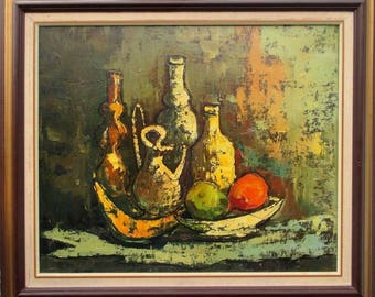 vintage 1960s mid century Eames era still life oil painting on canvas great quality