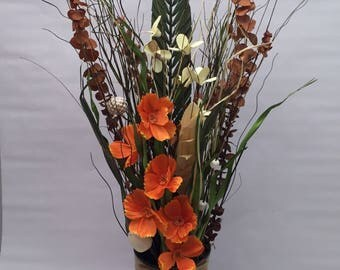 Tin bucket with orange poppies