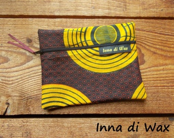 Pouch bag in wax fabric African 08007