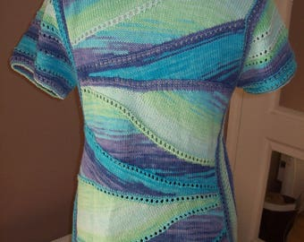 Pullover short sleeves - cotton - blue color changing - knit-
